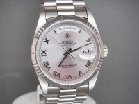 Rolex Day-Date 18239 Solid White Gold Stunning Silver Dial - Box & Papers