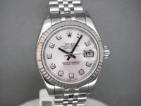 Rolex ladies date-Just 179174 Mother of Pearl Diamond Dial 2010 UK Watch