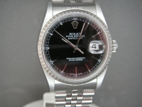 Rolex Mens Date-Just 16220 36mm Black Baton Dial Complete UK Example