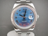 Rolex Date-just ll 41mm 116334 Powder Blue Dial 2012 Complete Pristine Watch