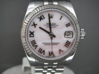 Ladies Rolex Date-Just Mid-Size 178274 Stunning Pink  Mother Of Pearl Dial.