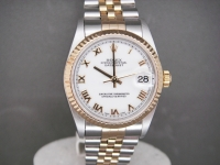 Ladies Rolex Date-Just Mid Size 31mm Steel & 18ct Gold White Dial Complete Watch