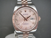 Stunning Rolex Date-Just 116231 Steel & Rose Gold Diamond Rose Gold Jubilee Dial