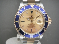 Ultra Rare Rolex Submariner 16613 Steel & Gold With Champagne Serti Dial