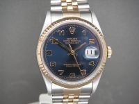 Stunning Rolex Date-Just 36mm 16233 Steel & Gold Blue Dial Complete Example