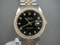 Rolex Date-Just 16233 Steel and 18ct Gold with Diamond Bezel and Dial