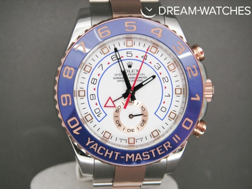 Rolex Yacht-Master 2 116681 Everose Gold & Steel Blue bezel White Dial Brand New