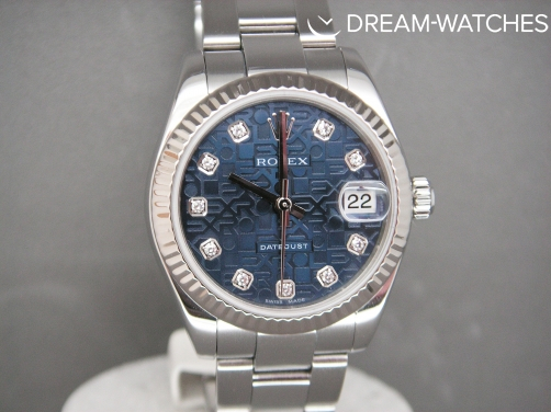 Ladies Rolex Date-Just 178274 Mid-Size Blue Jubilee Diamond Dial Complete Example