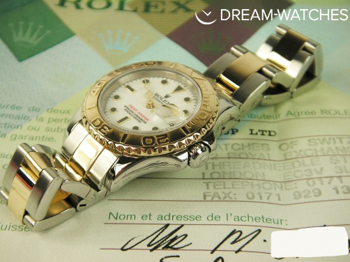 Ladies Rolex Yacht-Master 169623 Steel and Gold Stunning White Dial Totally Complete