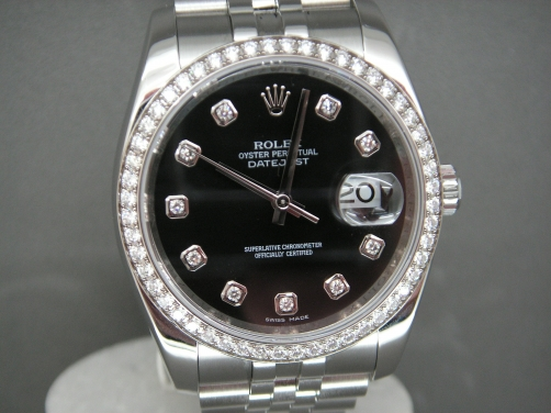 Stunning Rolex Date-Just 116244 52 Brilliant Cut Rolex Factory Diamond Bezel