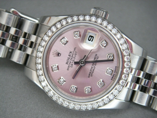 Rolex Ladies Date-Just 179384 Pink Diamond Dial & 46 Diamond Bezel Brand New
