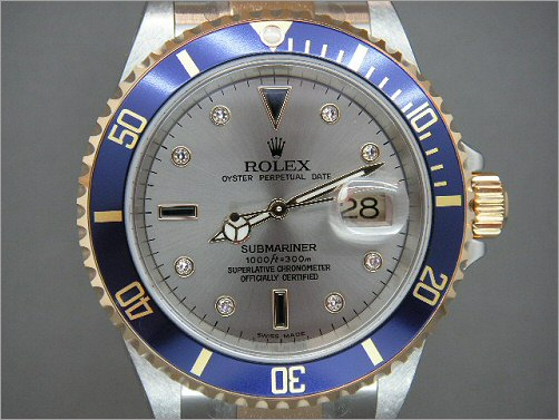 Mens Rolex Submariner 16613 with Serti dial