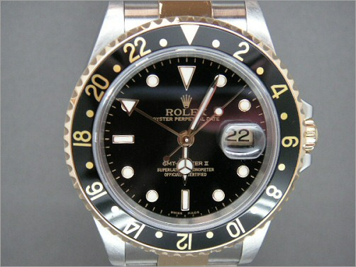 Pre owned mens Rolex steel and 18k gold GMT2 16713