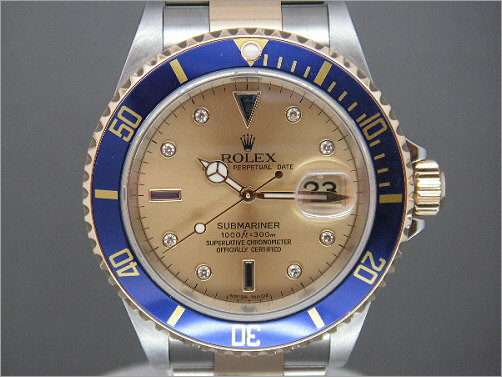 As new mens Rolex Submariner with Serti dial 16613