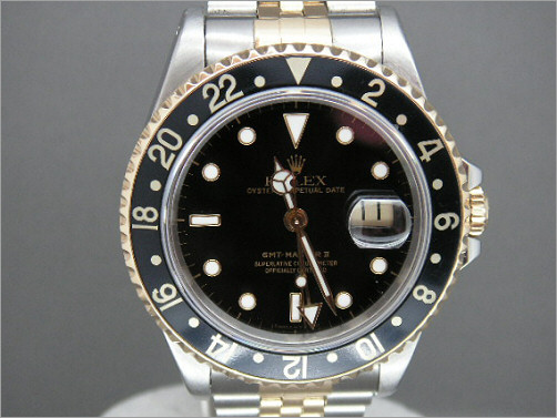 Mens Rolex steel and 18k gold GMT2 16173