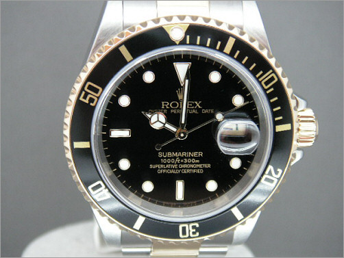 As new mens Rolex steel and gold Submariner 16613