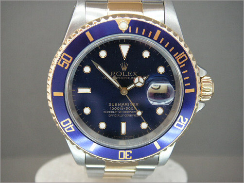 Pre owned mens Rolex steel and 18k Submariner 16613