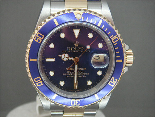 Mens Rolex steel and 18k gold Submariner 16613