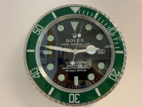 ROLEX STYLE SUBMARINER GREEN BEZEL WALL CLOCK - SMOOTH SECOND HAND