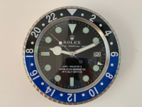 ROLEX STYLE GMT2 BATMAN BLACK BLUE BEZEL WALL CLOCK - SMOOTH SECOND HAND