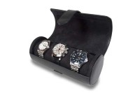 OUT OF STOCK - Watch Roll - Black Leather - L110