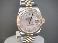 Ladies Rolex Date-Just 179173 Mother Of Pearl Diamond Dial Complete UK Watch
