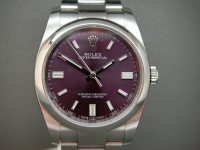 Rolex Oyster Perpetual 116000 36mm Stainless Steel Stunning Red Grape Dial Complete UK Watch