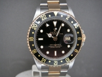 Rolex GMT Master ll 16713LN Steel & Gold Black Bezel Complete UK Watch