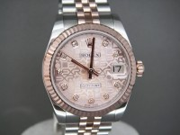 Ladies Rolex Mid Size Date-Just Rose Gold & Steel Pink Diamond Dial Brand New