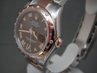 Ladies Rolex Date-Just 178341 Everose and steel Mid-Size Diamonds Choc Dial