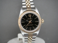 Ladies Oyster Perpetual 76193 26mm Stee & Gold Black Dial As New Condition