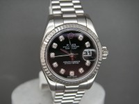 Ladies Rolex date-Just 179179 Solid White Gold | Black Diamond Dial Brand New