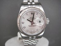 Ladies Rolex Date-Just 179174 Silver Diamond Dial Complete As New UK Watch