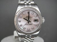 Rolex ladies date-Just 179174 Mother of Pearl Diamond Dial Brand New